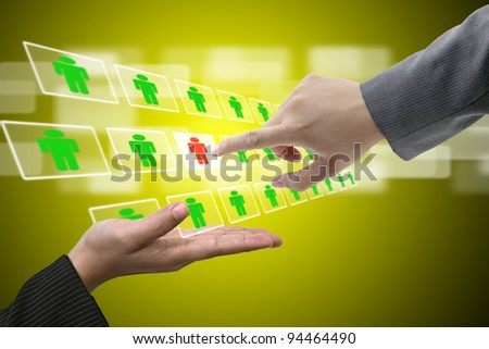 Business Man Hand on Virtual Touch Screen Interface using for Electronic Recruitment Process and Workforce Human Resource concept - stock photo