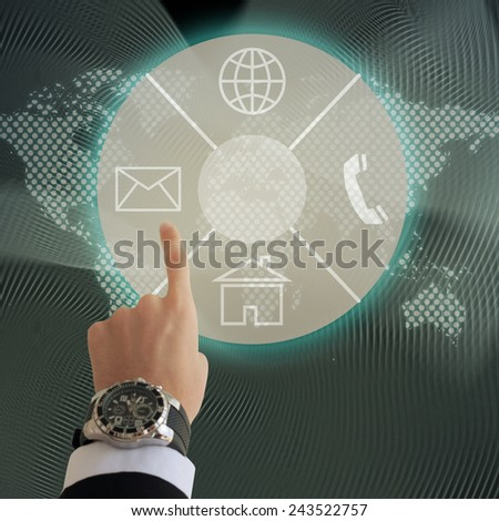 Business man hand pressing high tech buttons - stock photo
