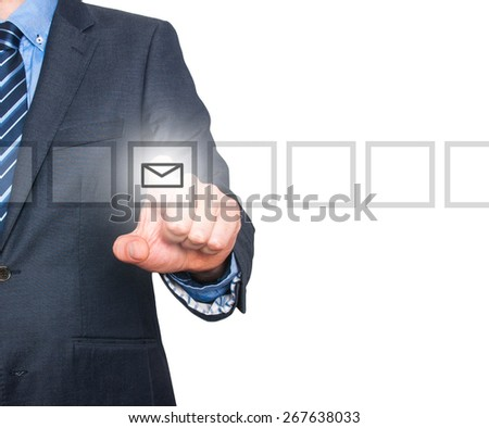 Business man Hand pressing virtual mail button. Communication concept. Isolated on white. Stock Image - stock photo
