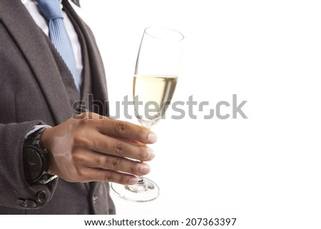 business man hand  with Champagne. - stock photo