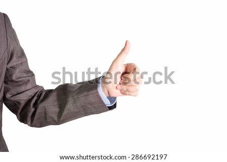 Business man hand with thumb up. Isolated on withe background.. - stock photo