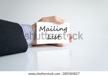 Business man hand writing Mailing list - stock photo