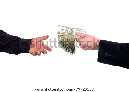 Business man handing cash to another person, loaning money - stock photo