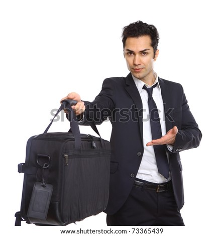 business man handing over a briefcase, isolated on white - stock photo