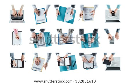 Business man hands at work set on white background, multitasking concept - stock photo