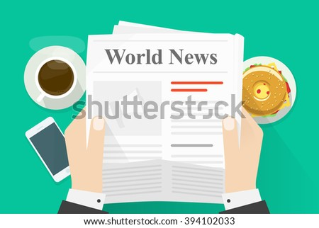 Business man hands holding newspaper with world news words headline, abstract text and photo, coffee break, lunch, breakfast, news paper modern design illustration isolated on green background image - stock photo