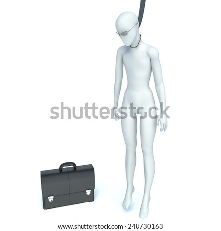 Business Man hangs himself. 3d illustration - stock photo