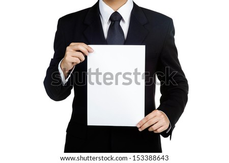 Business man Hold blank placard in isolated - stock photo