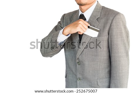 business man hold credit card isolated white background - stock photo