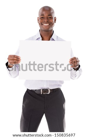 Business man holding a banner - isolated over a white background  - stock photo