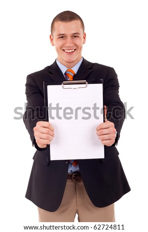 business man holding a blank clipboard (isolated on white) - stock photo