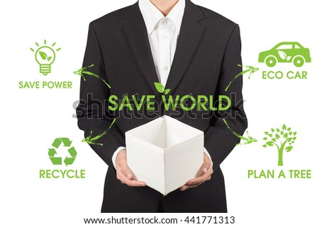 business man holding a box of save world concept - stock photo