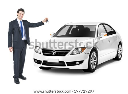 Business Man Holding a Key of the White Car - stock photo