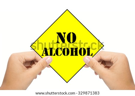 Business man holding a No alcohol  - stock photo