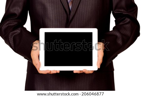 Business man holding and shows touch screen tablet pc with blank screen. - stock photo