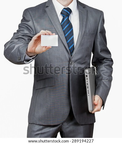 Business man holding business card   - stock photo