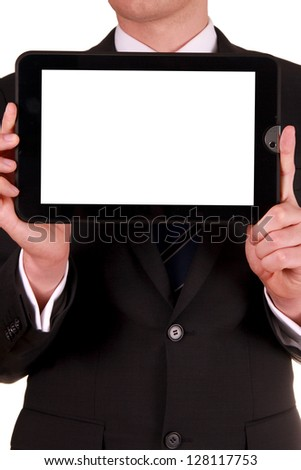 Business man holding digital tablet PC with blank white screen - stock photo