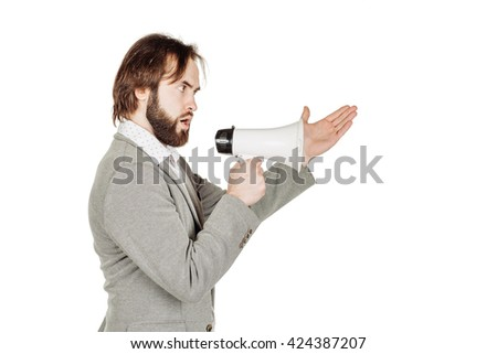 business man holding megaphone. human emotion expression and lifestyle concept. image on a white studio background. - stock photo