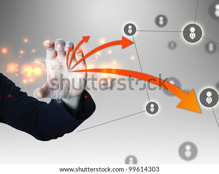 Business man holding world map - stock photo
