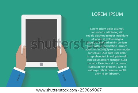 Business man holds holding tablet computer with blank screen. Using digital tablet pc. Flat design concept with copy space.  illustration  - stock photo