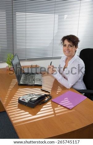 Business Man in an Job interview to find a female assistant for his office - stock photo