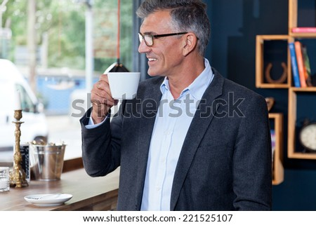 business man in cafe - stock photo