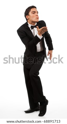 Business man in formal clothes in sending a gesture kiss - stock photo