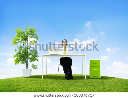 Business Man in His Office Outdoors - stock photo