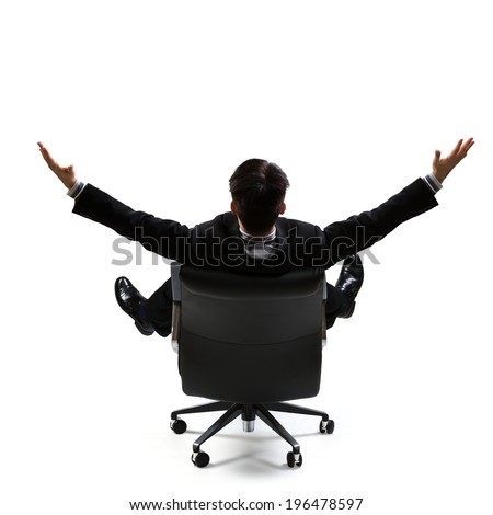 Business man in rear view sitting on a chair and open arms, Isolated over white - stock photo