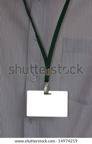 Business man in  shirt with name tag, insert your own text etc. - stock photo