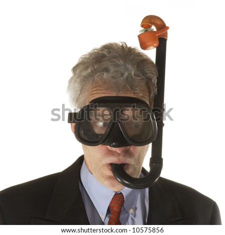 business man is keep on breathing - stock photo