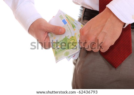 Business man is paying with euro banknotes, financial background - stock photo