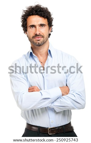 Business man isolated on white - stock photo