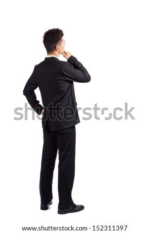Business man isolated on white background, Back view concept idea for design work - stock photo