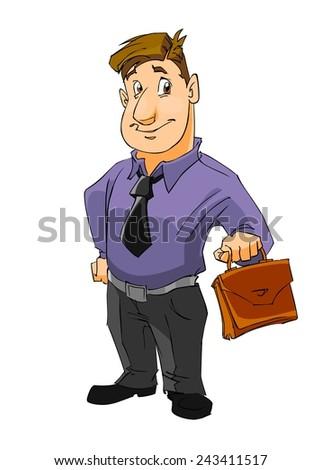 Business man isolated on white background. Cartoon illustration. - stock photo