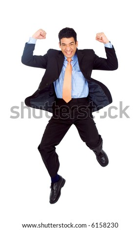 Business man jumping of joy and success isolated over a white background - stock photo