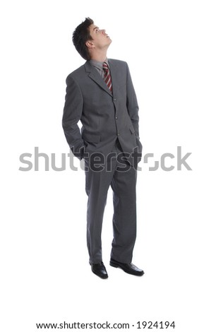 Business Man looking up - stock photo