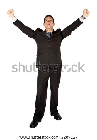 business man looking very happy due to his success - white background - stock photo