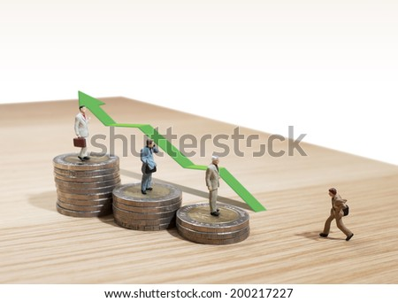 business man miniature concept move to success business finance and marketing - stock photo