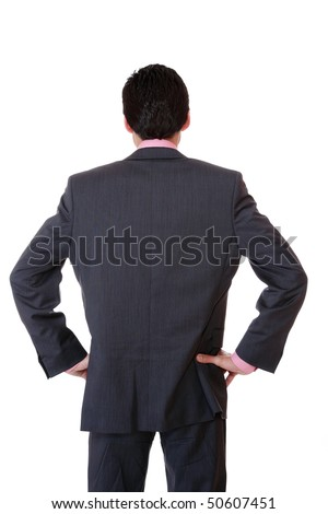 business man not facing the camera over white - stock photo