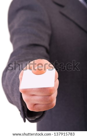 Business man offering blank card. - stock photo
