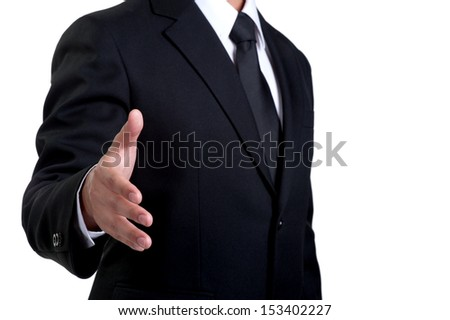 Business man offering Handshake in isolated - stock photo