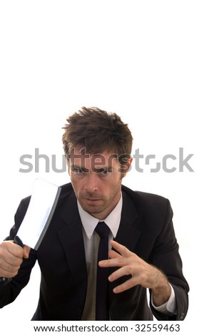 business man on the prowl with meat cleaver - stock photo