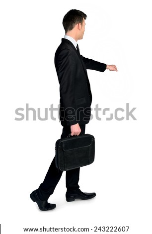 Business man open imaginary door - stock photo