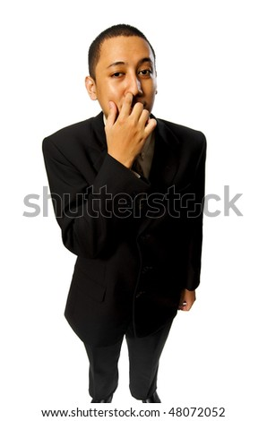 Business man pick his nose isolated on white background - stock photo