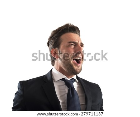 Business man pissed and furious at work - stock photo