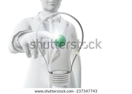 Business man pointing a bulb. Idea concept - stock photo