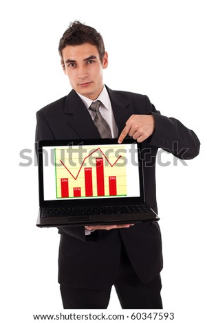 Business man pointing at a laptop computer with diagram isolated on white - stock photo