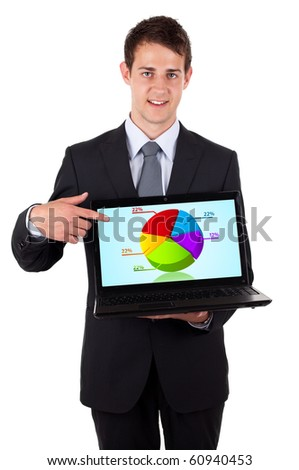 Business man pointing at a laptop computer with pie chart, isolated on white - stock photo
