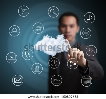 business man pointing at  cloud computing network - stock photo